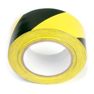 50m Warnband 50mm PVC Selbstklebend Schwarz-Gelb