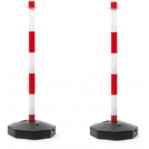 6X Absperrpfosten Kettenständer Poller mit 25m Kunstoffkette Absperrkette und 12xVerbindungsgliedern