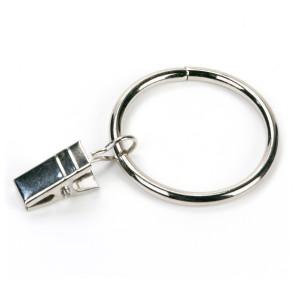 50 STK.Gardinenring mit Klammer 25mm Durchmesser Mehrzweck Vorhang Clip vernickelt  Gardinenstange Gardinenringe Vorhangringe mit Clips